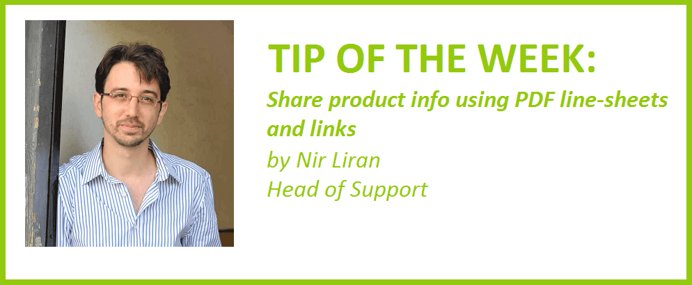 Share product info with your prospects or customers in a PDF line-sheet