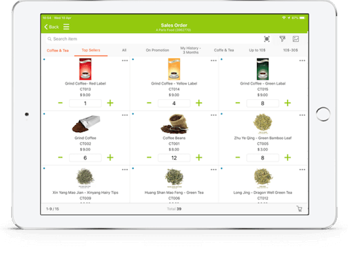 tablet showing b2b food mobile order taking