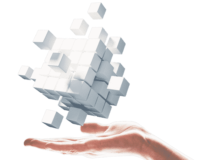 hand holding floating white cubes for omnichannel platform